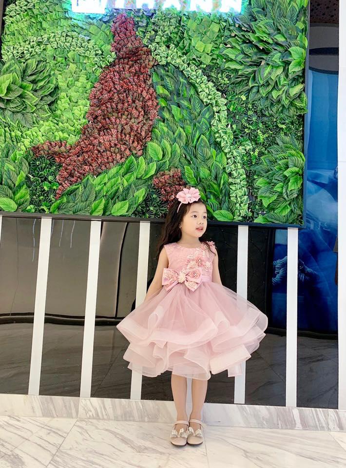 Đầm công chúa màu hồng xinh- Đầm xòe công chúa có nơ- Đầm xòe công chúa váy xếp tầng