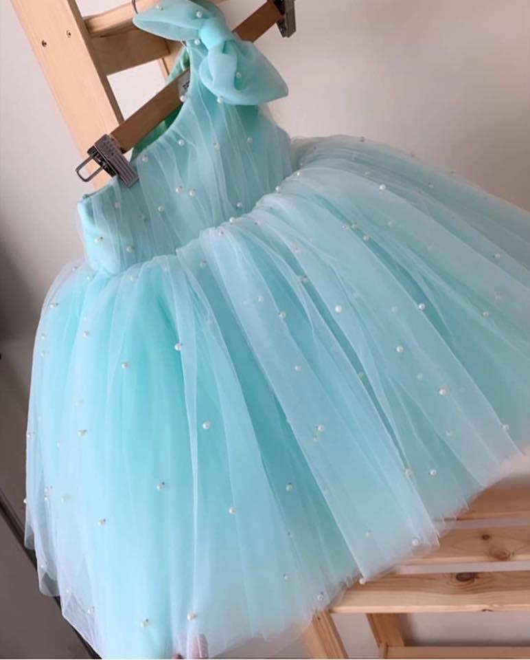 Đầm dạ tiệc lệch vai cho bé gái - đầm dạ tiệc đính ngọc trai