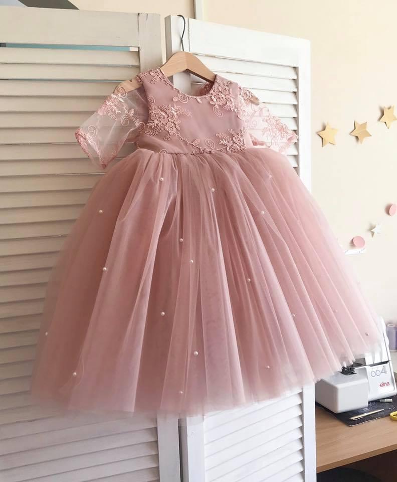 Đầm công chúa thắt nơ cực dễ thương cho bé - đầm tiểu thư bé gái