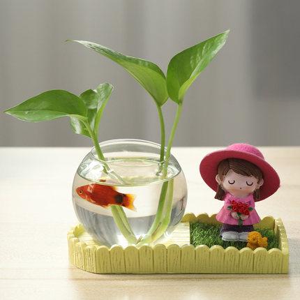 Chậu cây cảnh sáng tạo - chậu thủy tinh trong suốt nuôi cá cảnh - chậu thủy nhỏ xinh để bàn làm việc