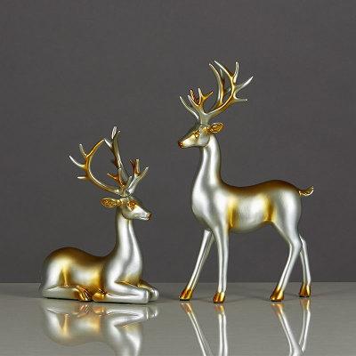Đồ trang trí phòng khách - quà tặng nai sừng nhỏ - quà tặng tân gia - nội thất trang trí phòng khách Châu Âu - Nai sừng tấm để bàn