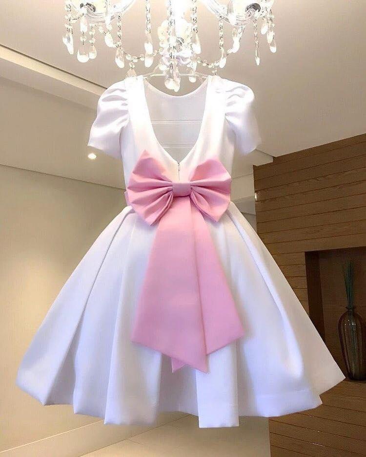 Đầm trắng công chúa- Đầm thắt nơ ngang eo- Váy xinh cho bé