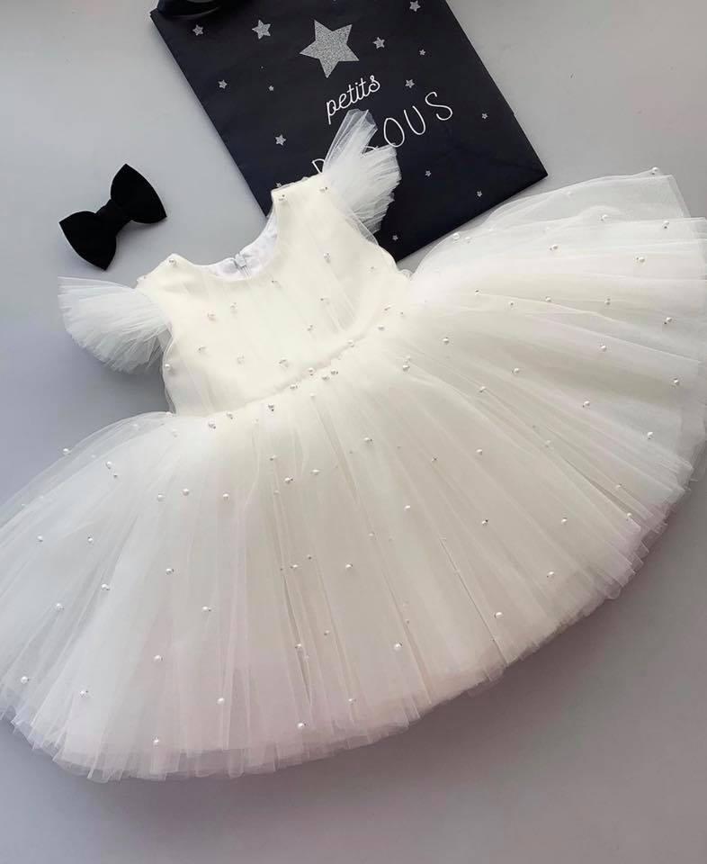 Đầm công chúa trắng tinh khôi- Đầm xòe cho bé gái cực xinh- Đầm công chúa đính ngọc trai