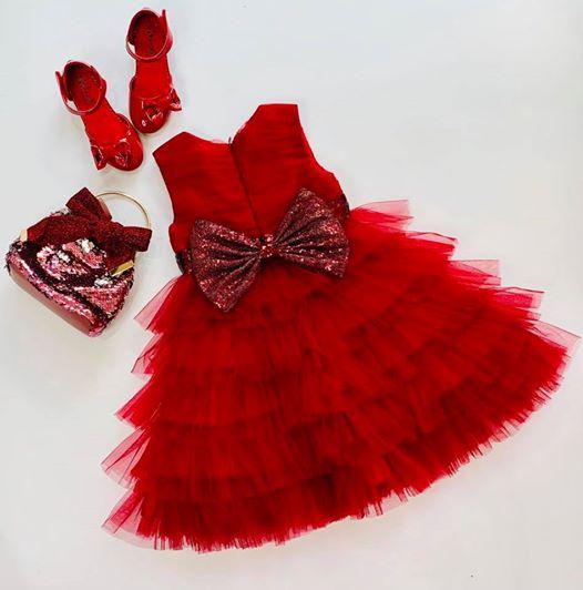 Đầm dự tiệc mẹ và bé - Set mẹ và bé đỏ đô - Váy đỏ xếp tầng