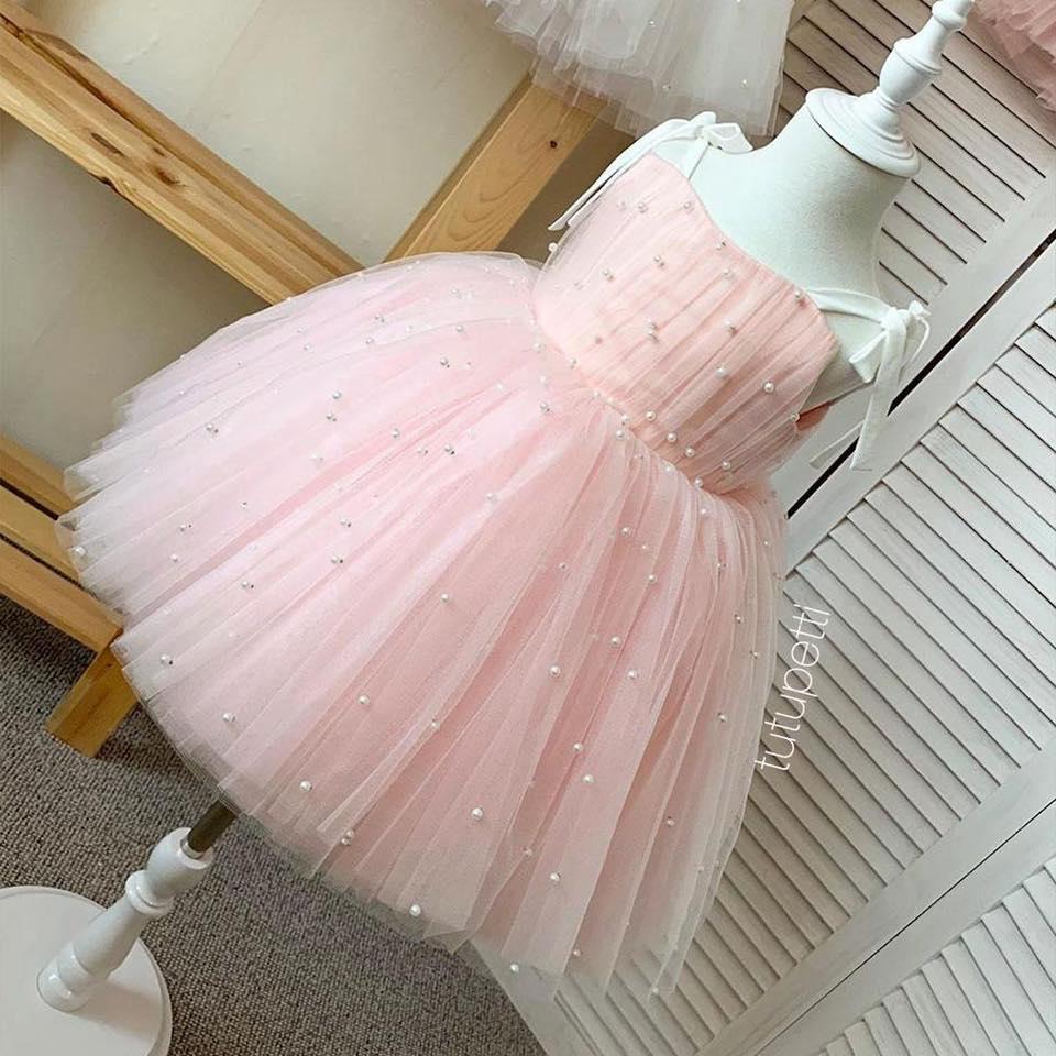 Đầm 2 dây công chúa - đầm hoa cho bé - váy bồng đính ngọc trai